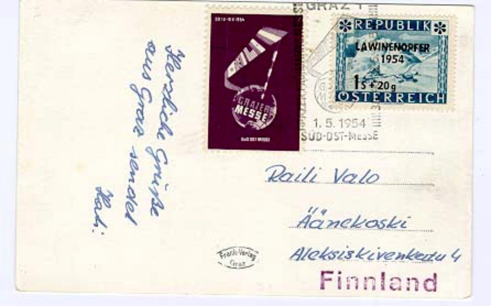Austria/Österreich 1954 Pc To Finland - 1945-.... 2nd Republic