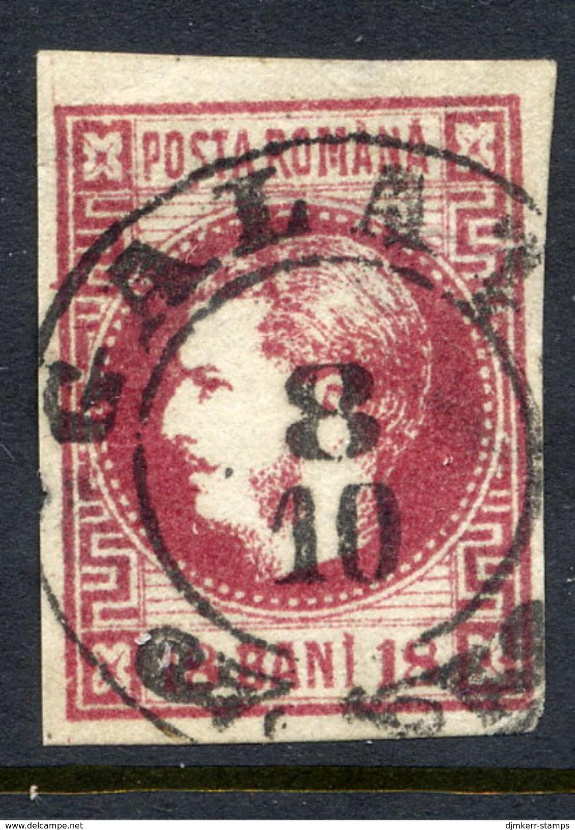 ROMANIA 1868 Prince Carol 18 B. Carmine-lake  Used.   Michel 20 - 1858-1880 Moldavia & Principality