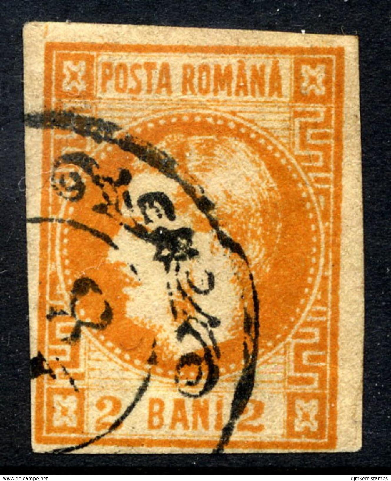 ROMANIA 1868 Prince Carol 2 B. Orange,  Used.   Michel 17 - 1858-1880 Moldavia & Principality