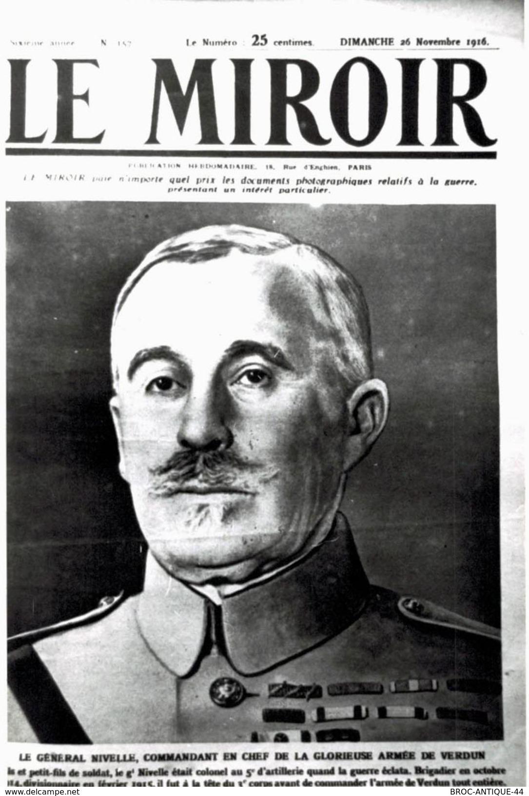 CPA N°13524 - CARTE PHOTO FORMAT CPA TIREE DU MIROIR - GENERAL NIVELLE ARMEE DE VERDUN - ARCHIVE UNIQUE - Guerra 1914-18