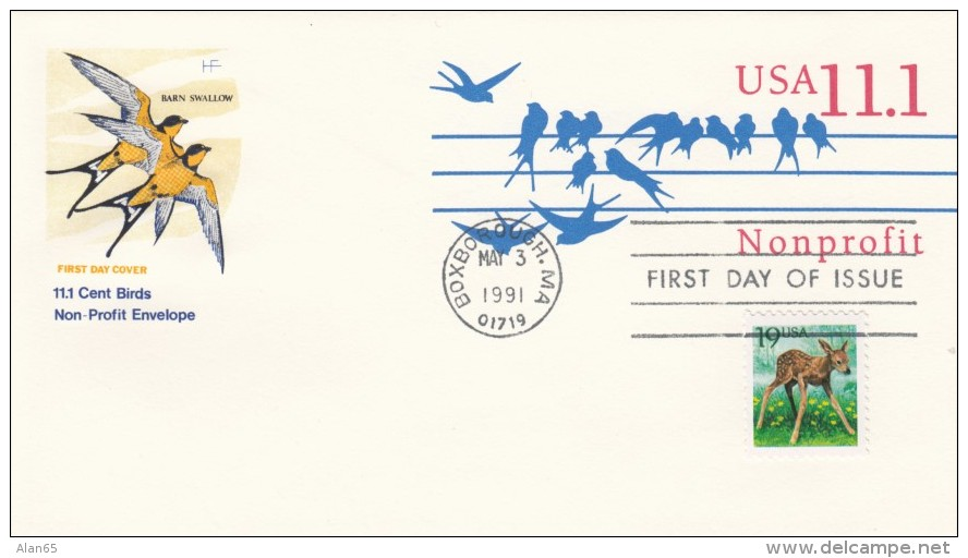 Sc#U620 11.1-cent Nonprofit Rate Postal Stationery Issue On Illustrated FDC Cover With 19-cent Deer Regular Issue - 1991-2000