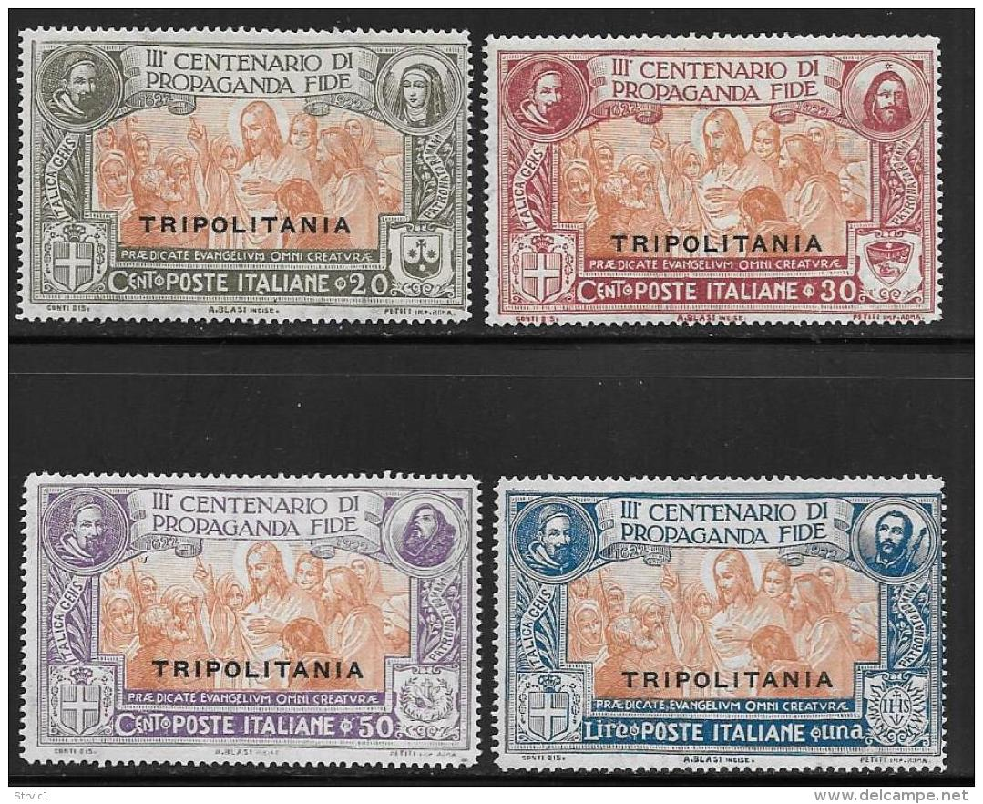 Tripolitania, Scott # 1-4 Mint Hinged Italy Propaganda Of The Faith Issue Overprinted, 1923 - Tripolitania