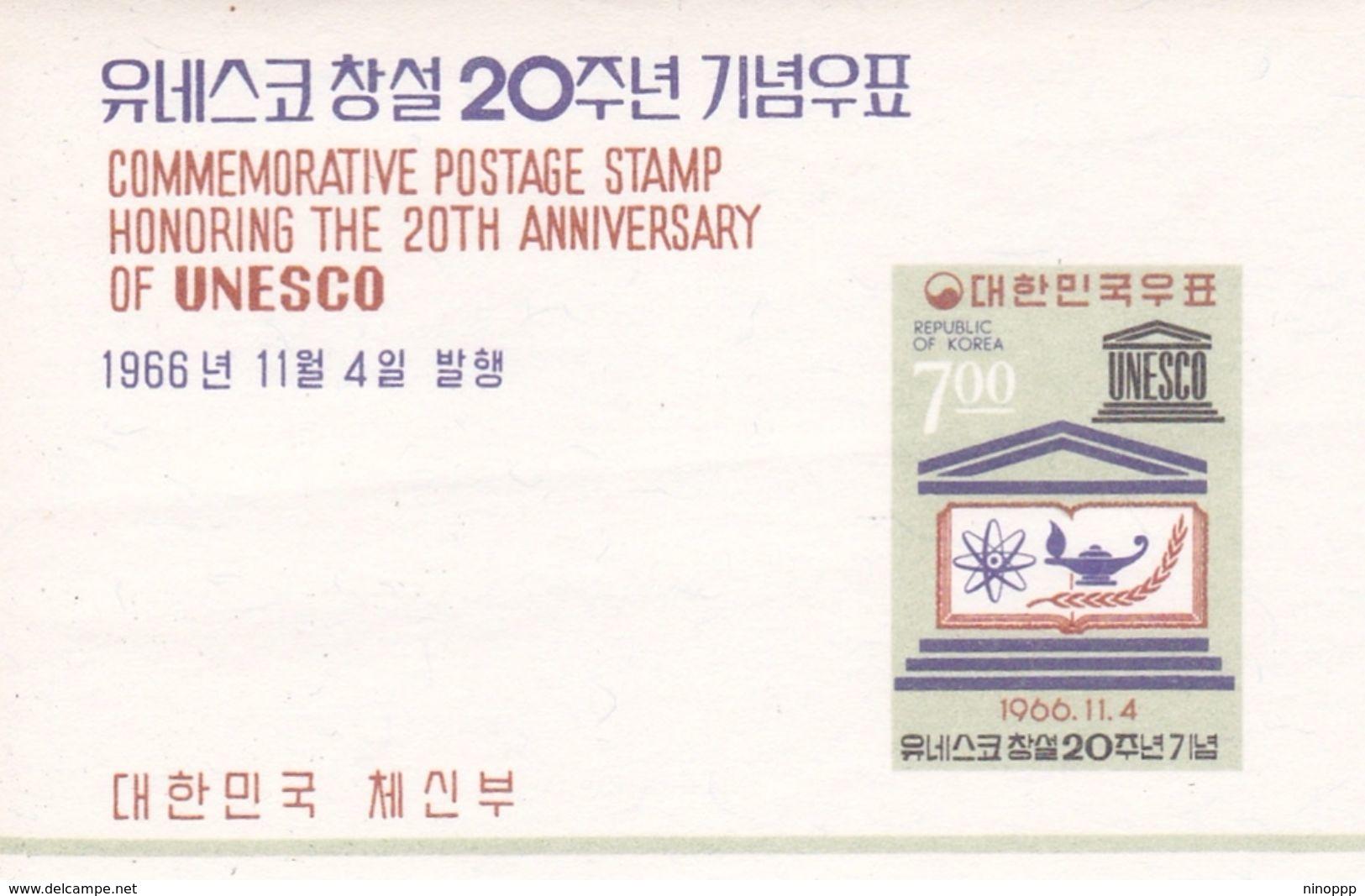 Korea 1966 20th Anniversary Of UNESCO MS MNH - Korea, South