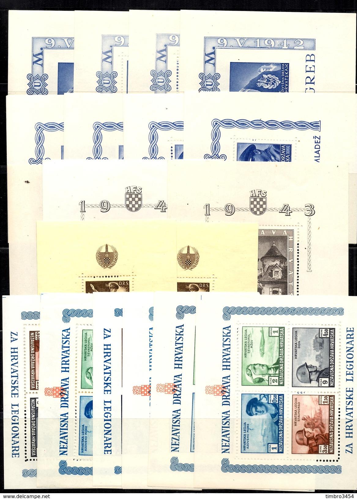 Croatie 19 Blocs-feuillets Neufs ** MNH 1942/1945. Dentelés Et Non Dentelés. TB. A Saisir! - Croatie