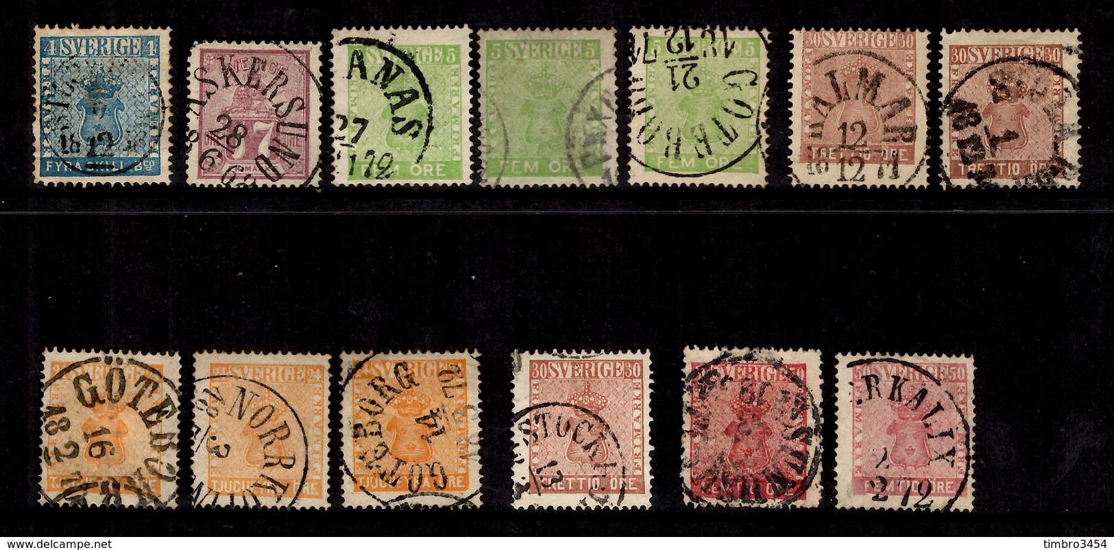 Suède 13 Classiques Oblitérés 855/1866. Bonnes Valeurs. A Saisir! - Used Stamps