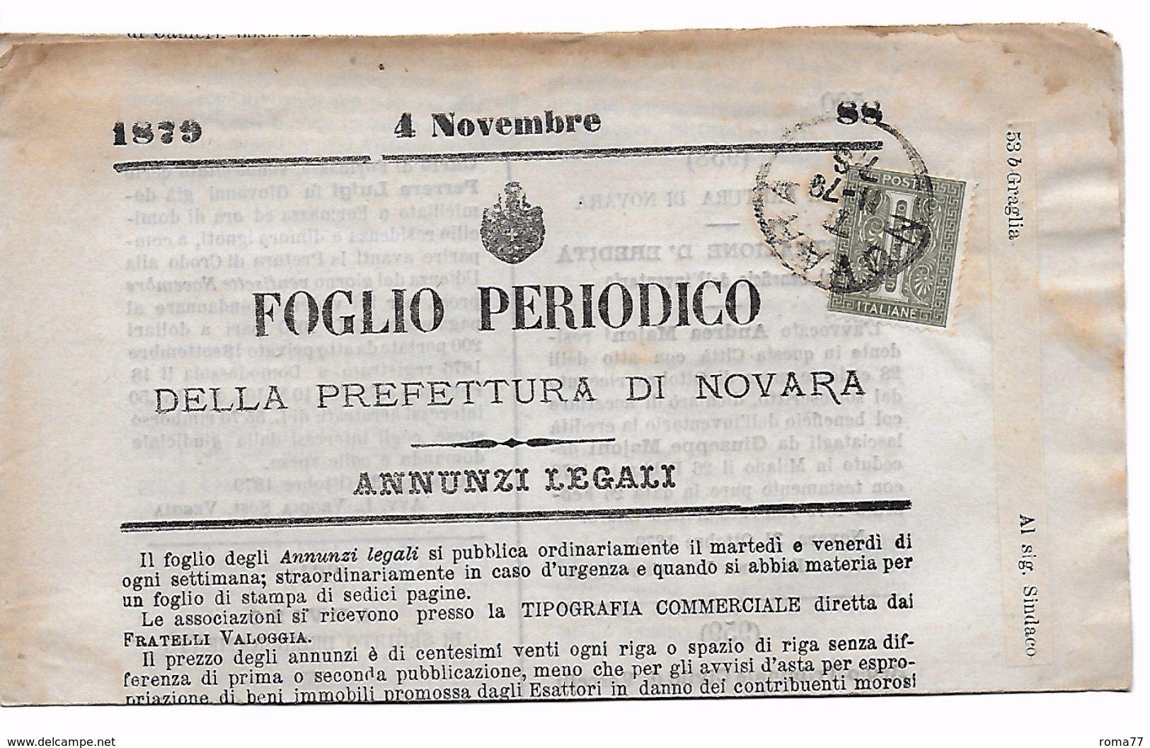 EDB92 - REGNO 1879 , Foglio Periodico Per Graglia - 1878-00 Umberto I