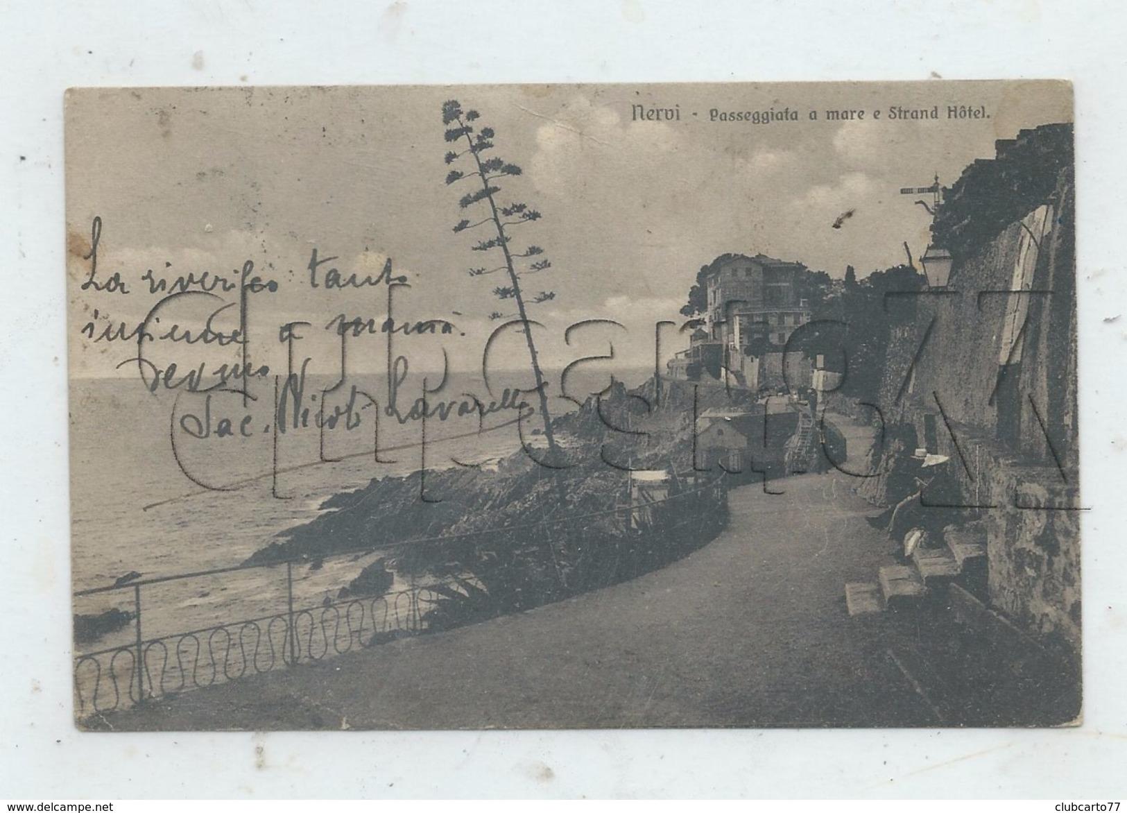 Gênes.ou Genova (Italie, Liguria) : Passeggiafa A Mare E Strand Hôtel Nervi En  1906 (animé) PF. - Genova (Genoa)