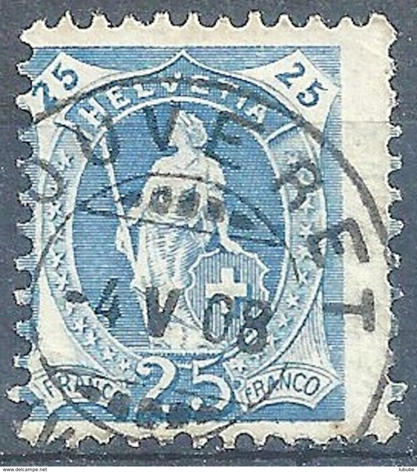 Stehende Helvetia 93A, 25 Rp.blau  BOUVERET           1908 - 1882-1906 Armoiries, Helvetia Debout & UPU