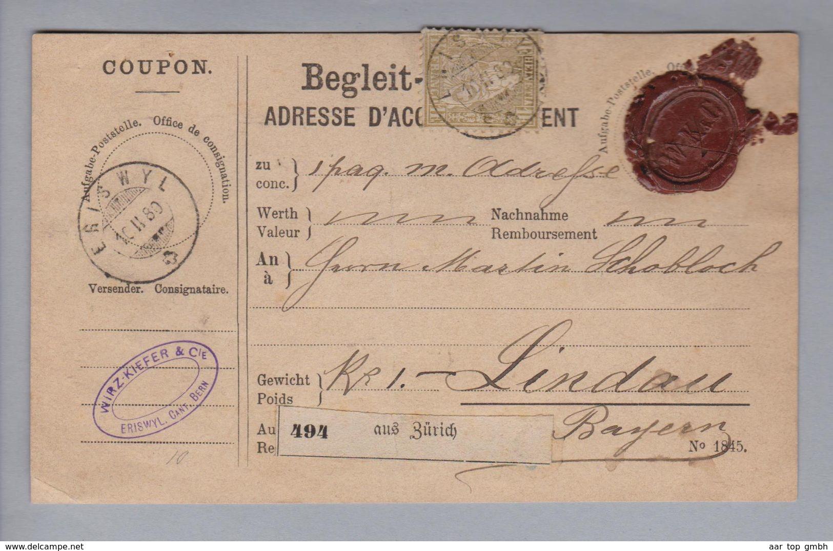 Schweiz 1880-02-16 Eriswil Paketkarte Mit Einzelfrankatur Zu#36 Nach Lindau (1Fr.goldene Sitzende Helvetia) - Lettres & Documents