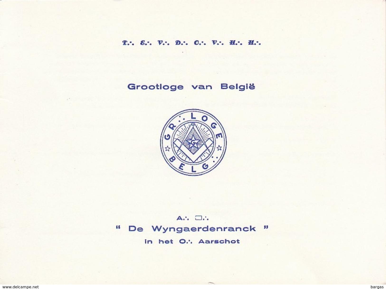 Franc Maçon Invitation Maconnique Grand Lodge Of Belgium Pour érection Des Colonnes  De Wyngaerdenranck Aarschot - Programmes