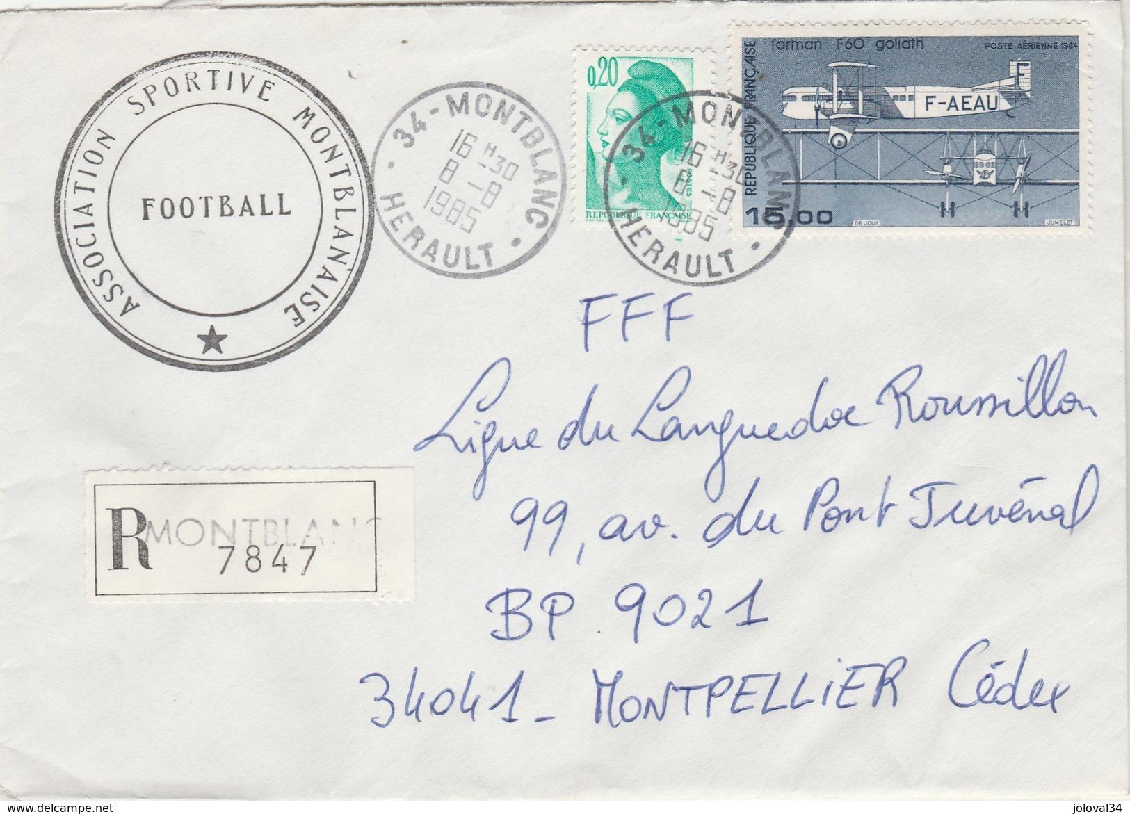 Yvert 2181 Liberté Gandon + PA 57 Sur Lettre Recommandée MONTBLANC Hérault  8/8/1985 - Lettres & Documents