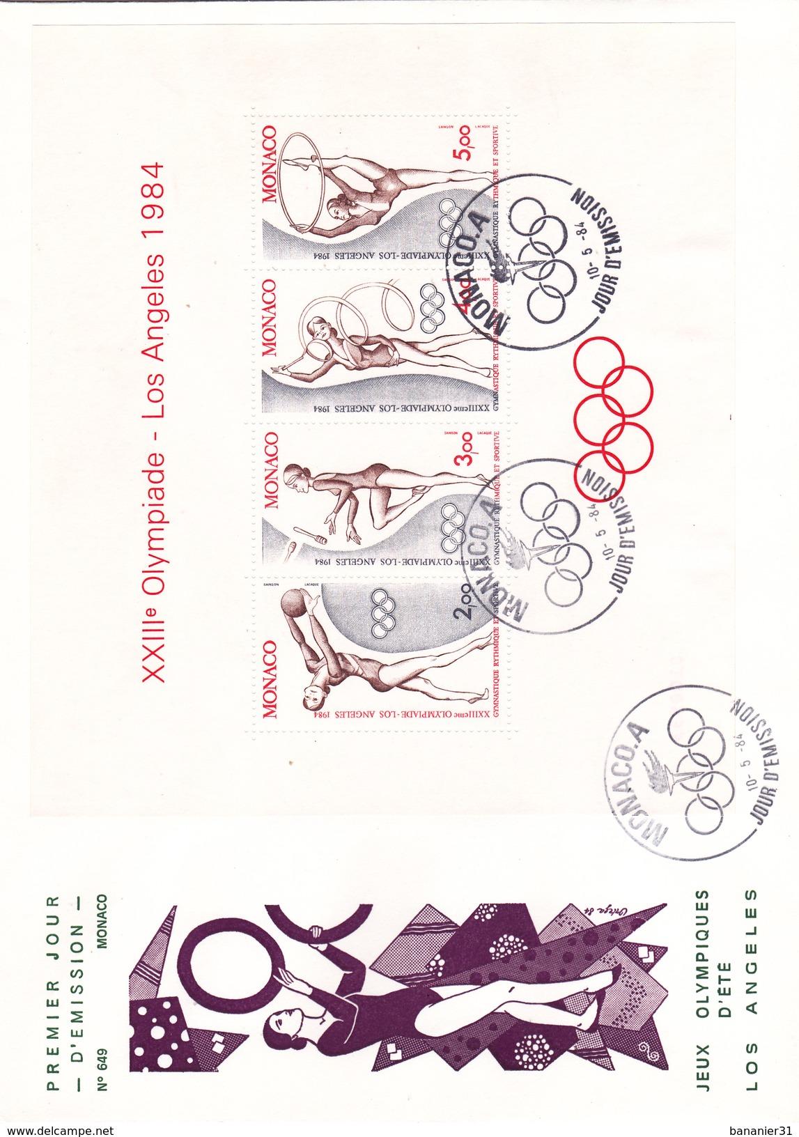 MONACO @ FDC N° 649 Grand Format 22,8 Cm X 16,3 Cm BLOC 1984 SPORT 23 ° Olympiade Los Angeles USA Jeux Olympiques GYM - FDC