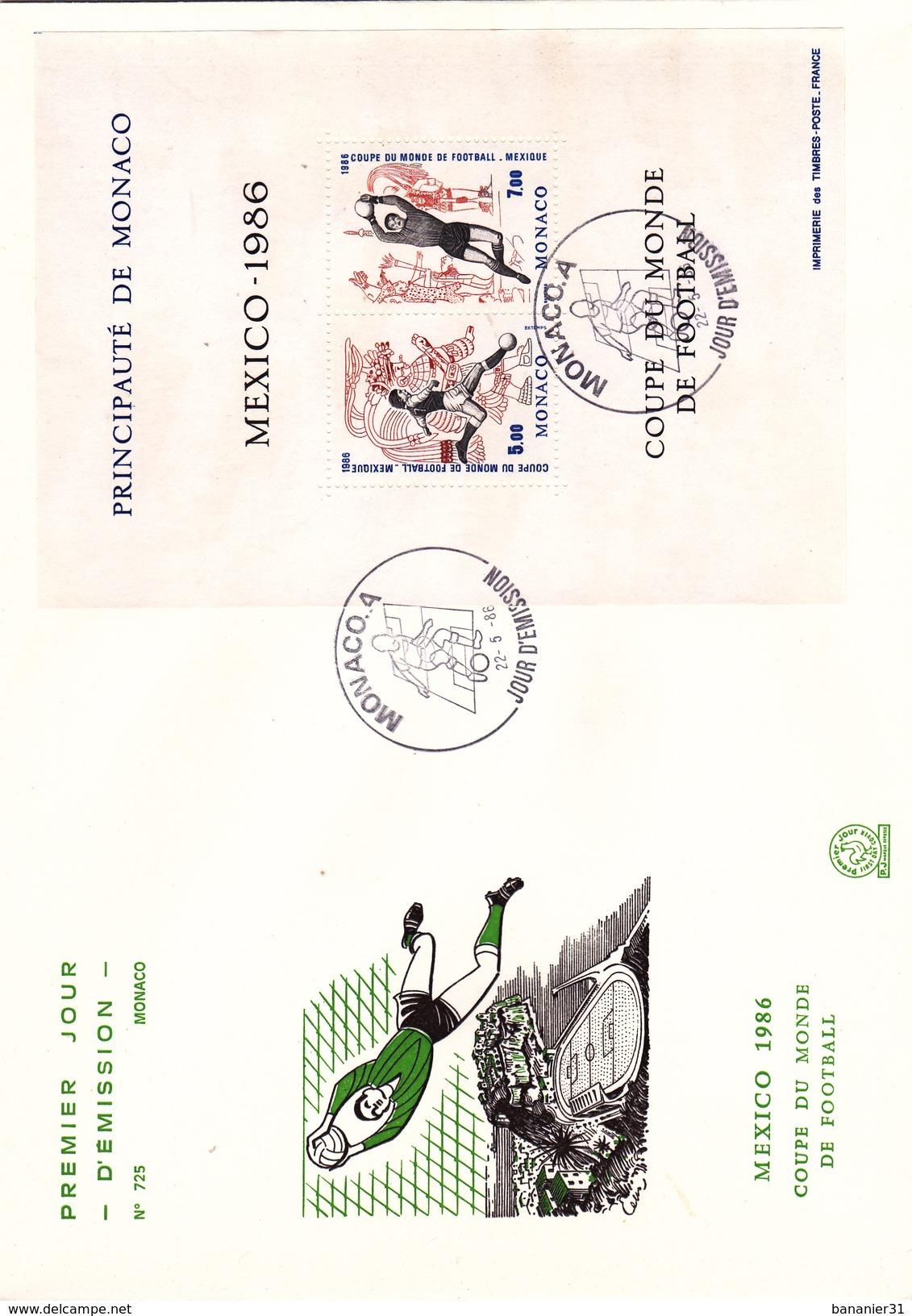 MONACO @ FDC N° 725 Grand Format 22,8 Cm X 16,3 Cm BLOC 1986 SPORT Coupe Du Monde De Football MEXIQUE - FDC