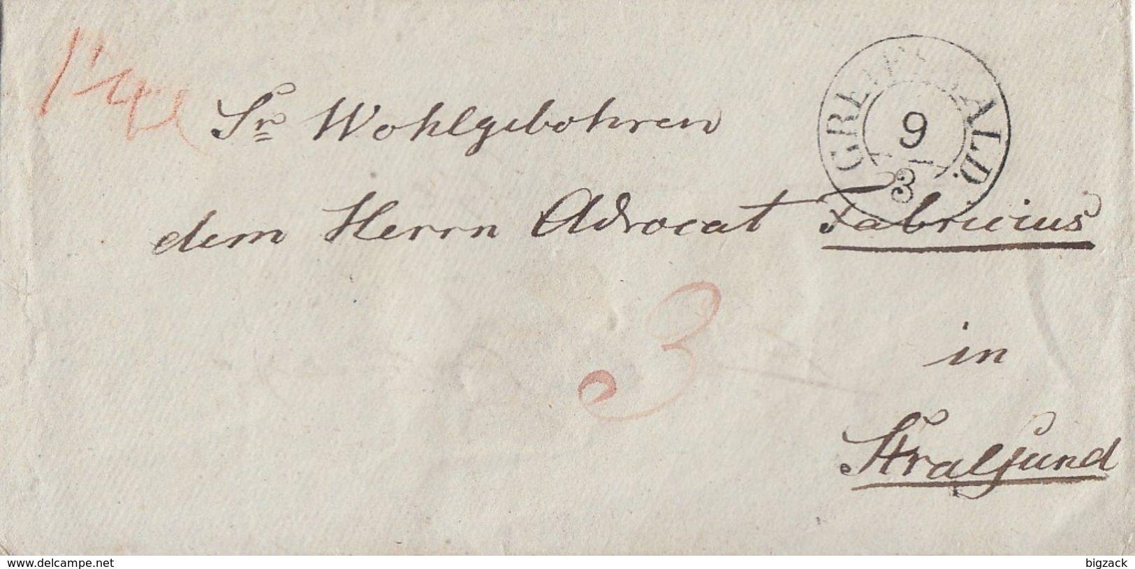 Preussen Brief Großer K2 Greifswald 9.3. Gel. Nach Stralsund - Preussen
