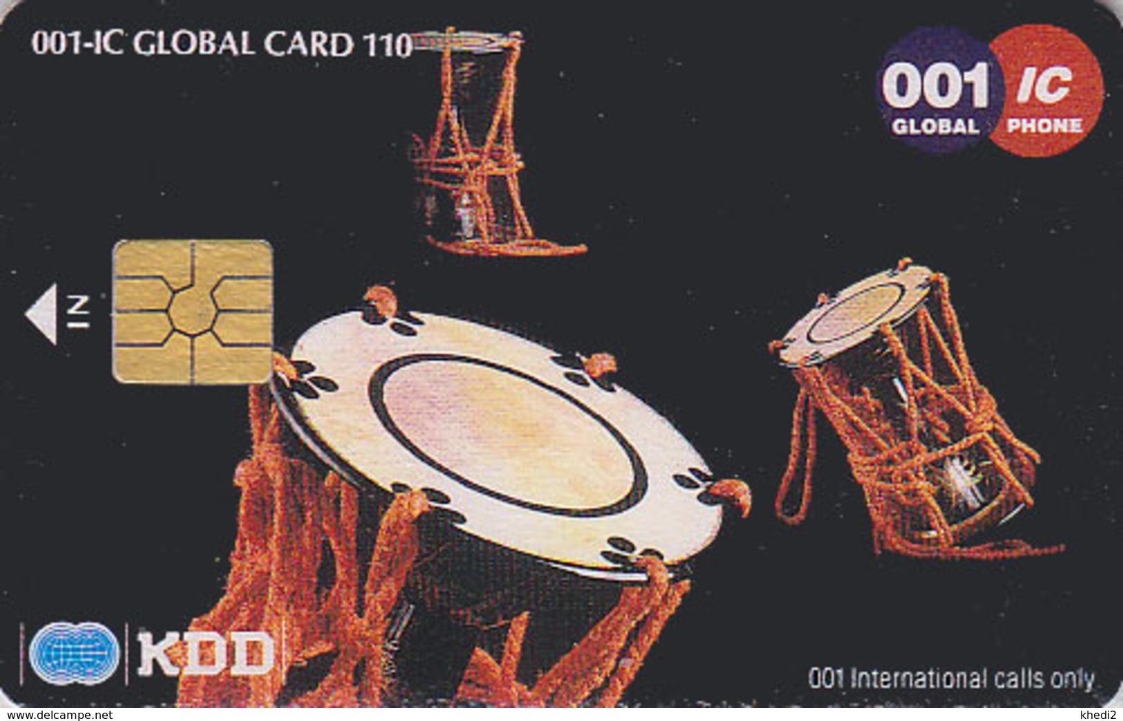 Télécarte à PUCE Japon / KDD - N° 1 / Musique Tambour * 110 U * - Japan Drum Music CHIP Phonecard - Trommel Telefonkarte - Japan