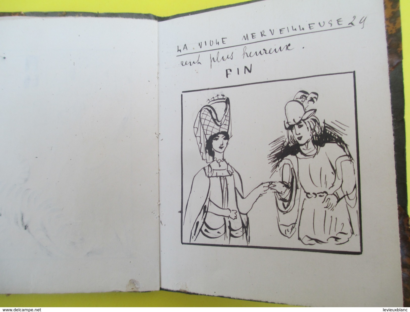 Mini-Livre/CONTE-Historiette/ La Viole Merveilleuse/ YMER/Reliure Artisanale/Dessins Plume Charmants/Mi 19éme ?   LIV131 - Culture