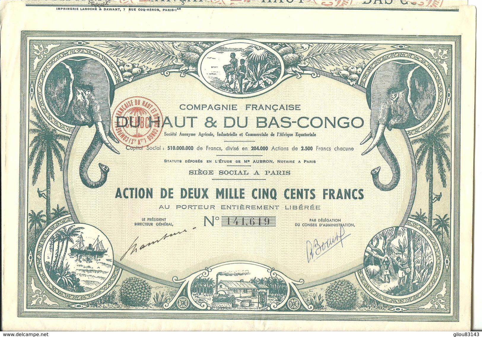 Actions, Compagnie Française Du Haut Et Bas-Congo, Action De 2500 Fr    (bon Etat)  Coupon De 1 A 30 Complet. - Afrique