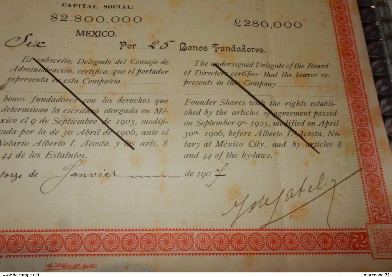 OBLIGATIONS COMPANIA MINERA EL REY MEXICO 1907 - Actions & Titres