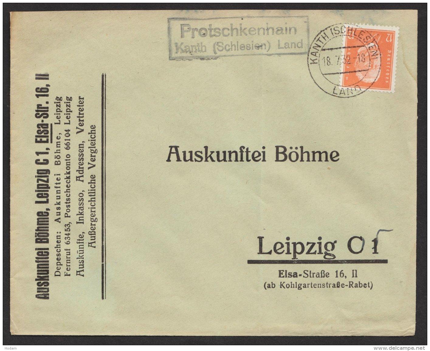 """Oberschlesien,Landpost- Ra """"Protschkenhain, Kant (Schlesien) Land"""" 18.7.32 - Deutschland"""