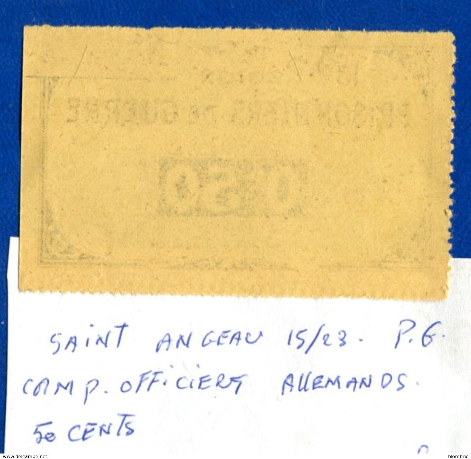 Pg  De  Saint  Angeau  15/23  1914/18  50  Cents - Bons & Nécessité