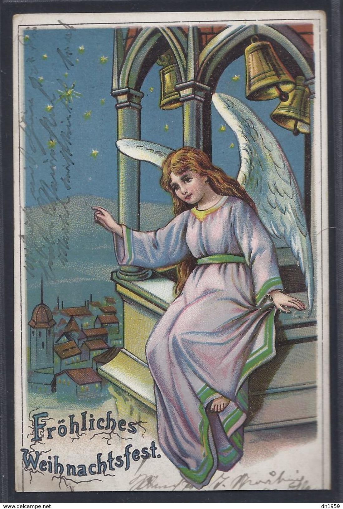 TSINGTAU KIAUTSCHOU 1904 CHINE CHINA KIAUTCHOU Pour STRASBOURG Sur Carte Voeux Noel Weihnachten Ange Angel Engel - Colonie: Kiautchou