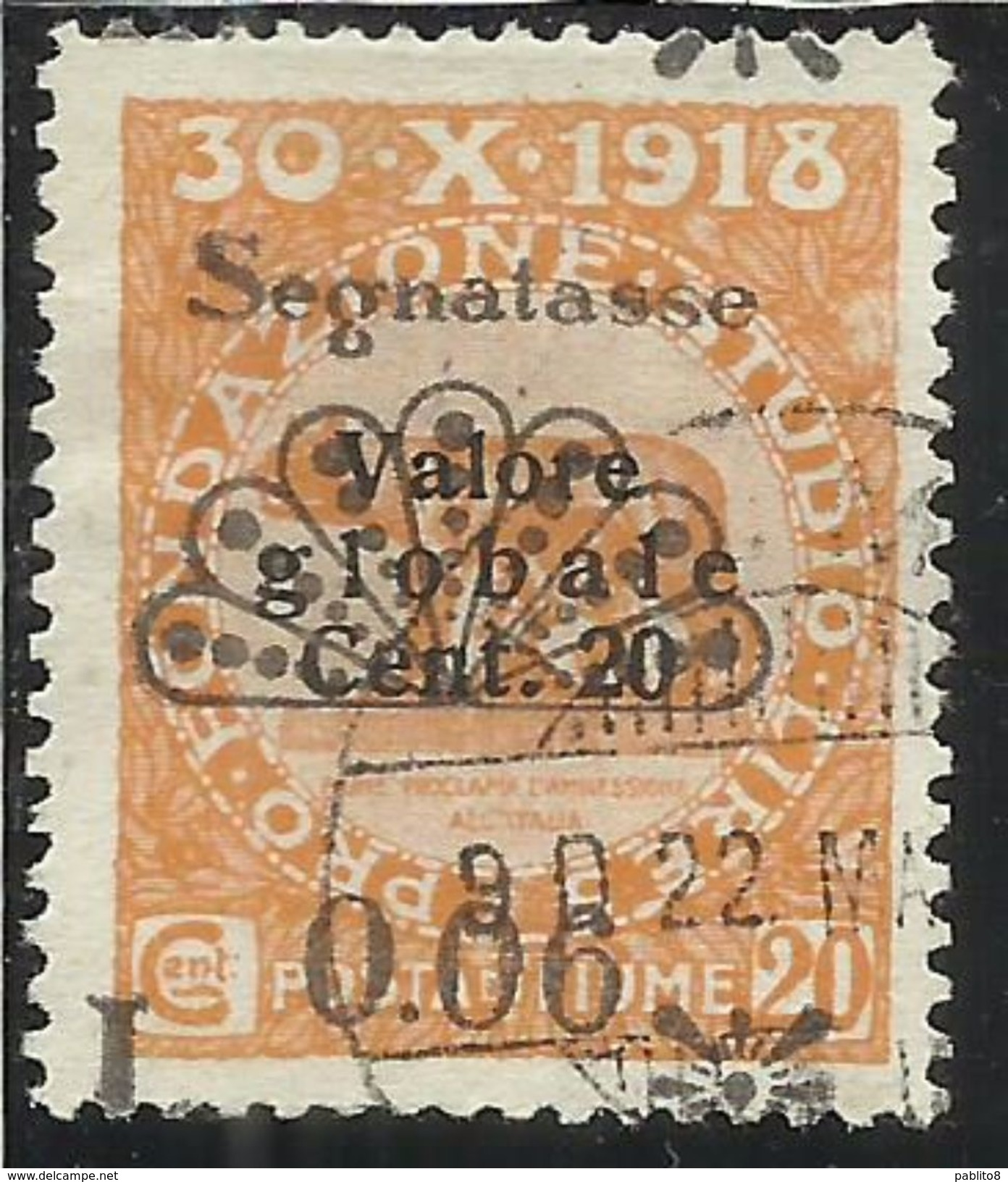 FIUME 1921 VARIETA' VARIETY SEGNATASSE POSTAGE DUE TASSE TAXE VALORE GLOBALE 2° TIPO 0.06 SU CENT. 20c USATO USED - Fiume