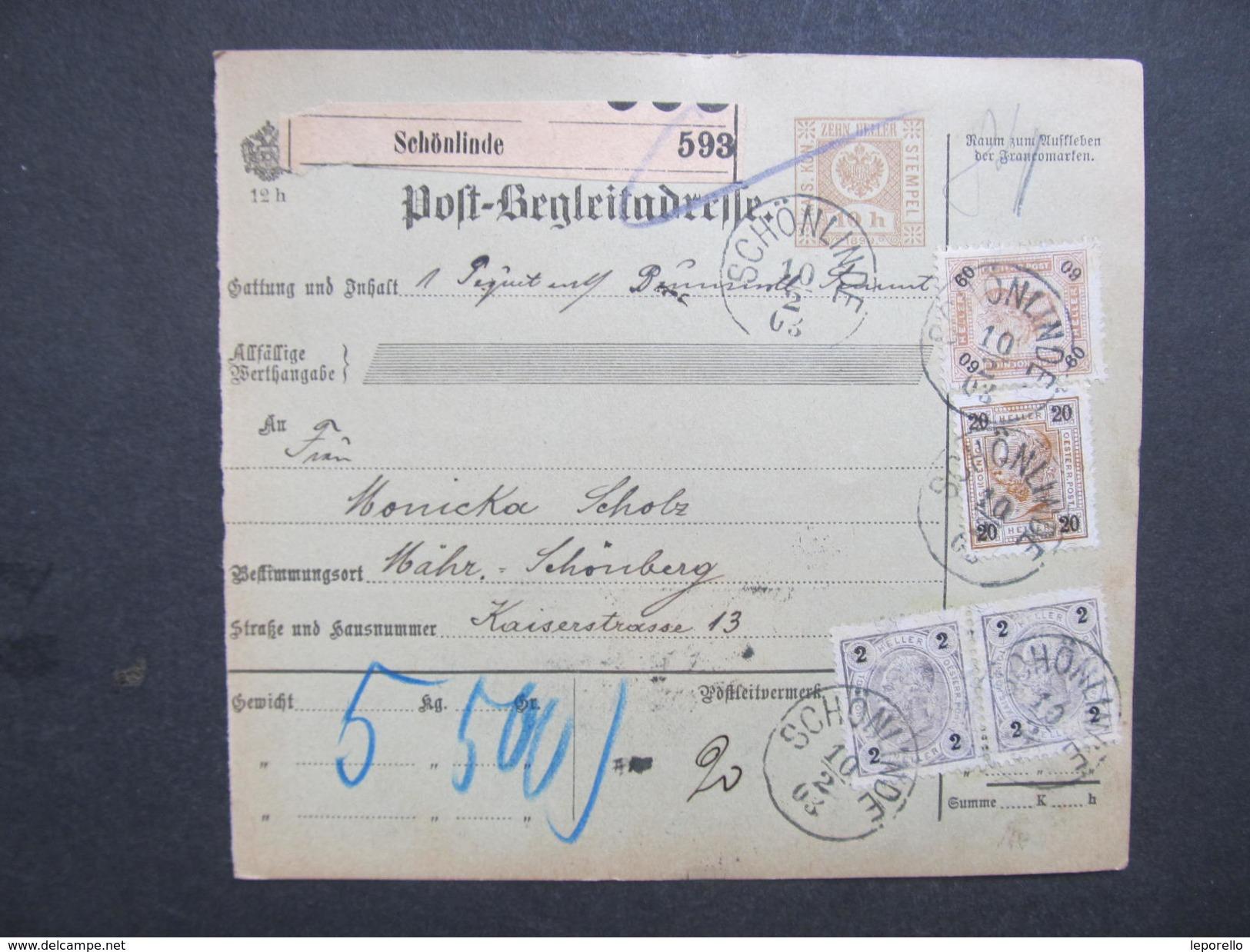 Posbegleitadresse Schönlinde - Mährisch Schönberg 1903 //  D*28261 - Briefe U. Dokumente