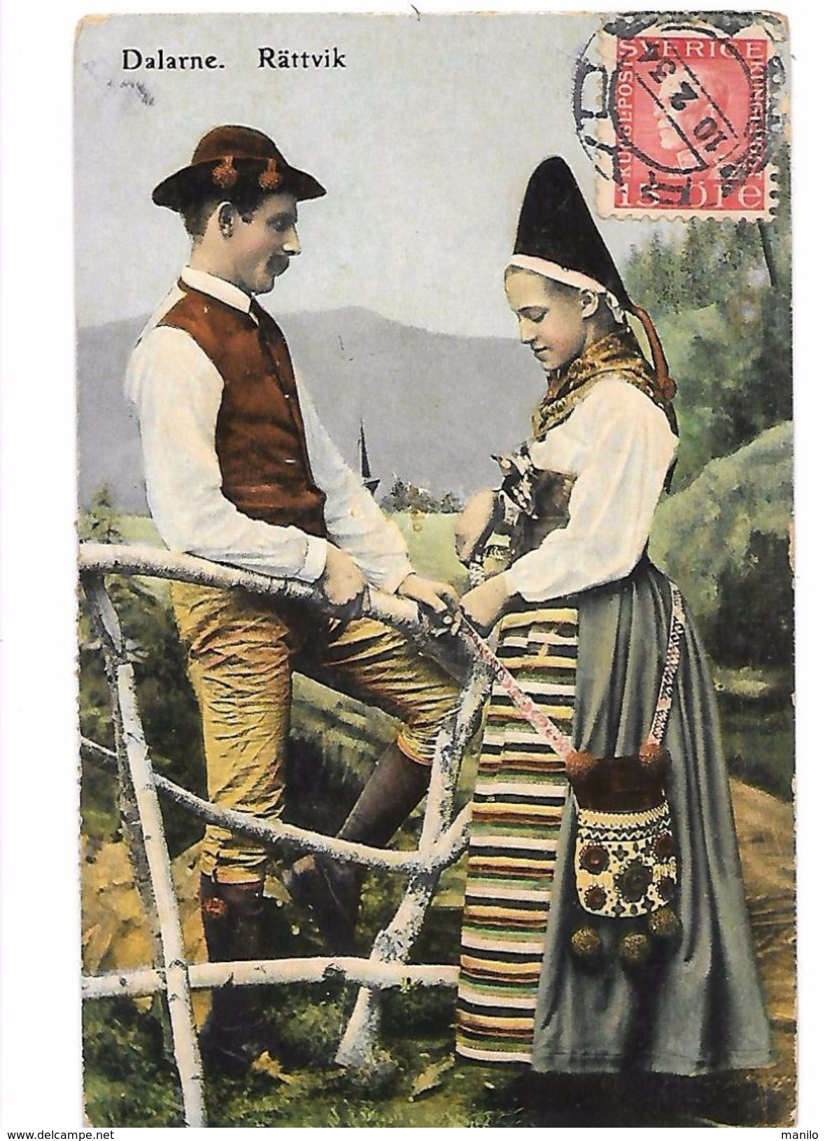 CONGRES ESPERANTO à STOCKHOLM En 1934 Sur Carte Couleur D'un Couple De Suédois DALARNE.RATTVIK Signé ERIK OLOFSSON - Esperanto