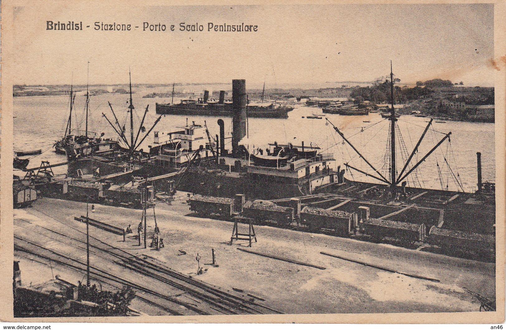 BRINDISI_Stazione_Porto E Scalo Peninsulare- Vg Il 1916-Originale 100%-2 Scan- - Brindisi