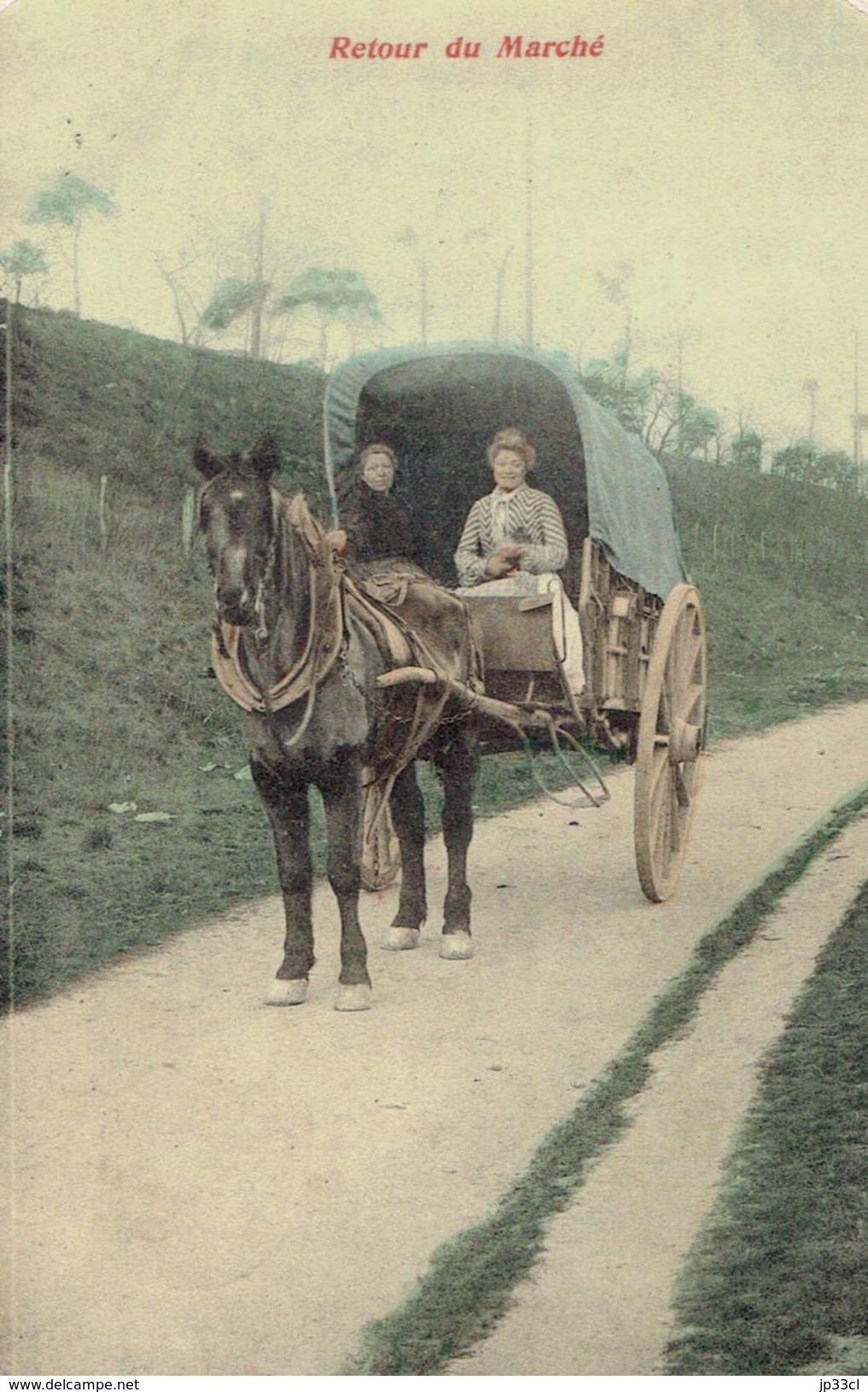 Cheval Charrette CPA Retour Du Marché 14/5/1908 (De Fayt Lez Seneffe à Haine Saint Pierre) - Manage