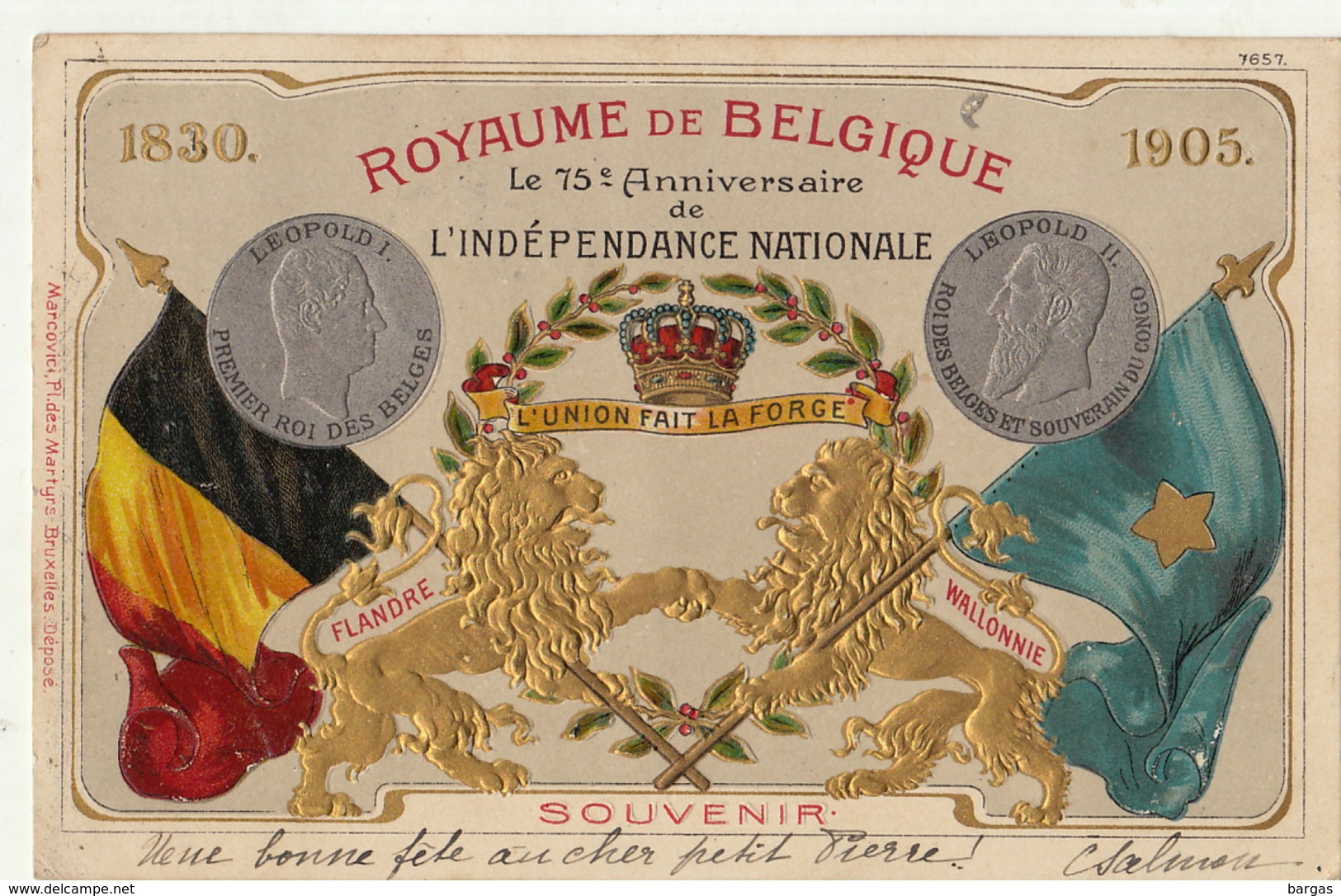 Gaufrée Royaume De Belgique 75 èm Anniversaire De L'indépendance Nationale Belge - Belgique