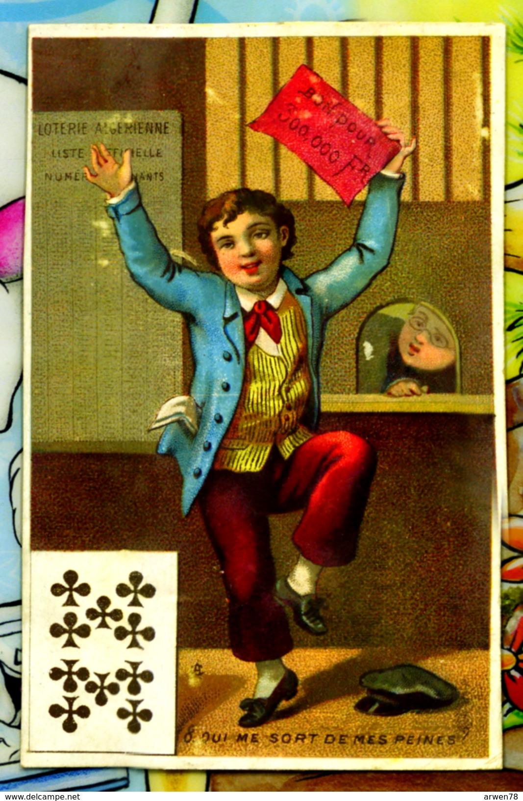 Chromo Dos Blanc Presage Carte A Jouer 10 De Trefle Loterie Nationale - Chromos
