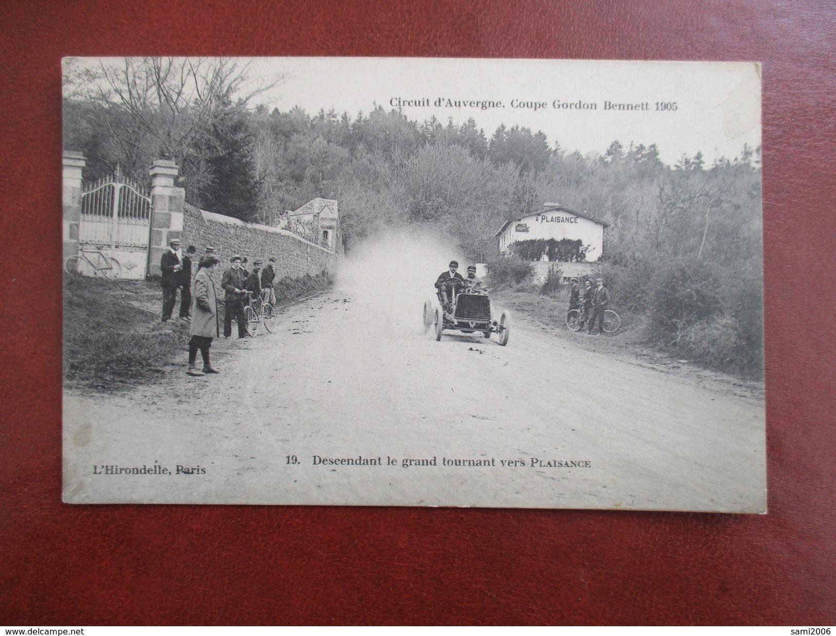 CPA CIRCUIT D'AUVERGNE COUPE GORDON BENNETT 1905 DESCENDANT LE GRAND TOURNANT VERS PLAISANCE VOITURE ANCIENNE ANIMEE - Sport Automobile
