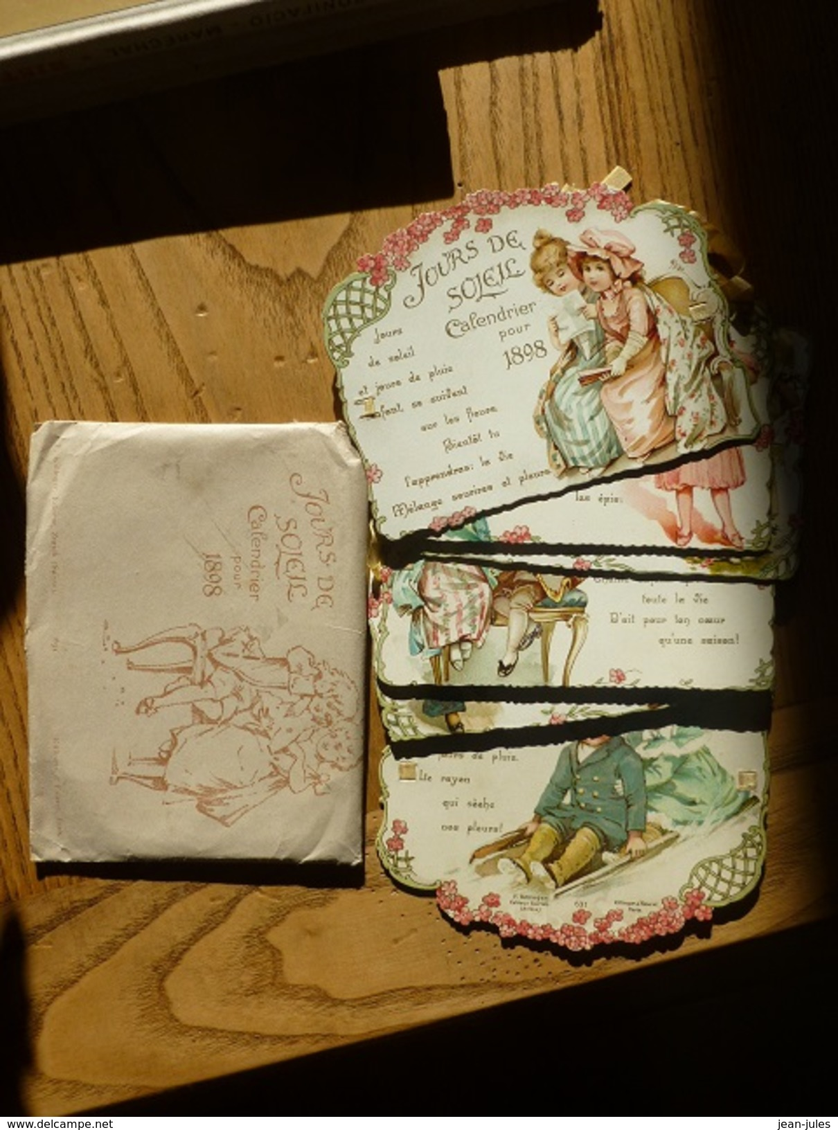 6 Chromos De Style Romantique Formant Calendrier Pour 1898 - Ed. F. Killinger , Zurich, Suisse -631- Avec Enveloppe - Chromos