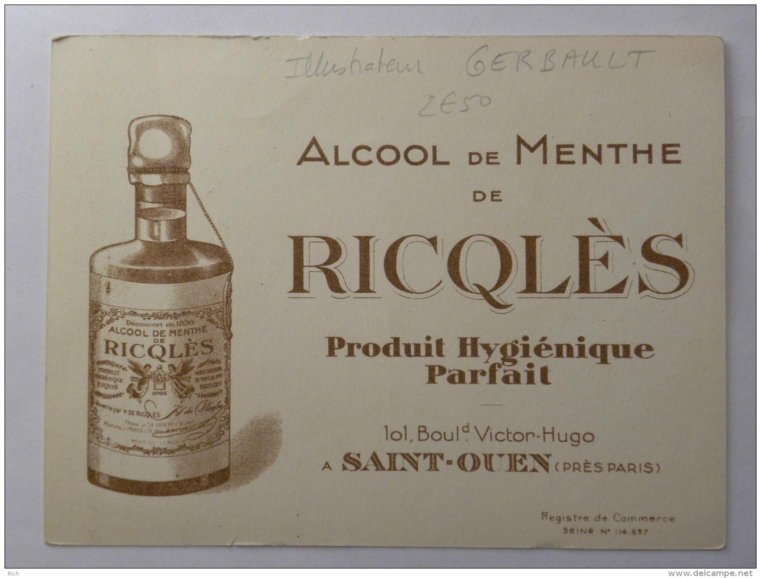 Chromo Ricqlès - Illustrateur Gerbault - Alcool De Menthe - Papa, Les P'tits Bâteaux - Chromos