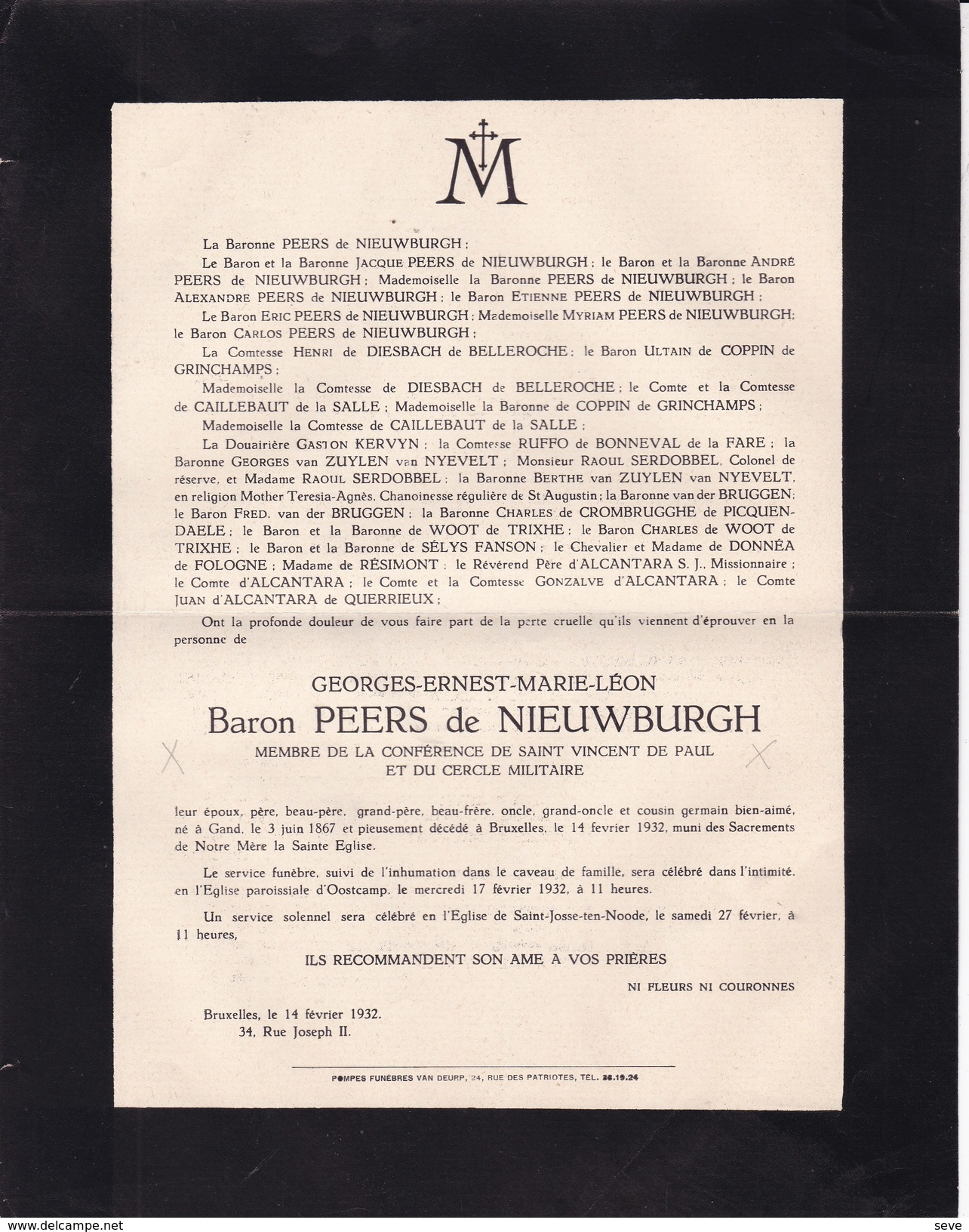 OOSTKAMP Georges Baron PEERS De NIEUWBURGH Gand 1867 Bruxelles 1932 - Overlijden