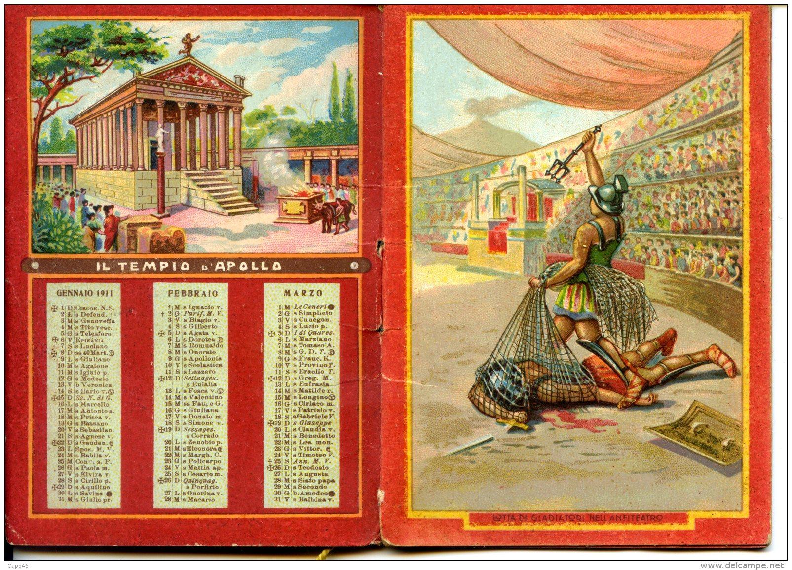 """CALENDARIETTO 1911 - """"POMPEI"""" - (SENZA PUBBLICITA´) - Formato Piccolo : 1901-20"""