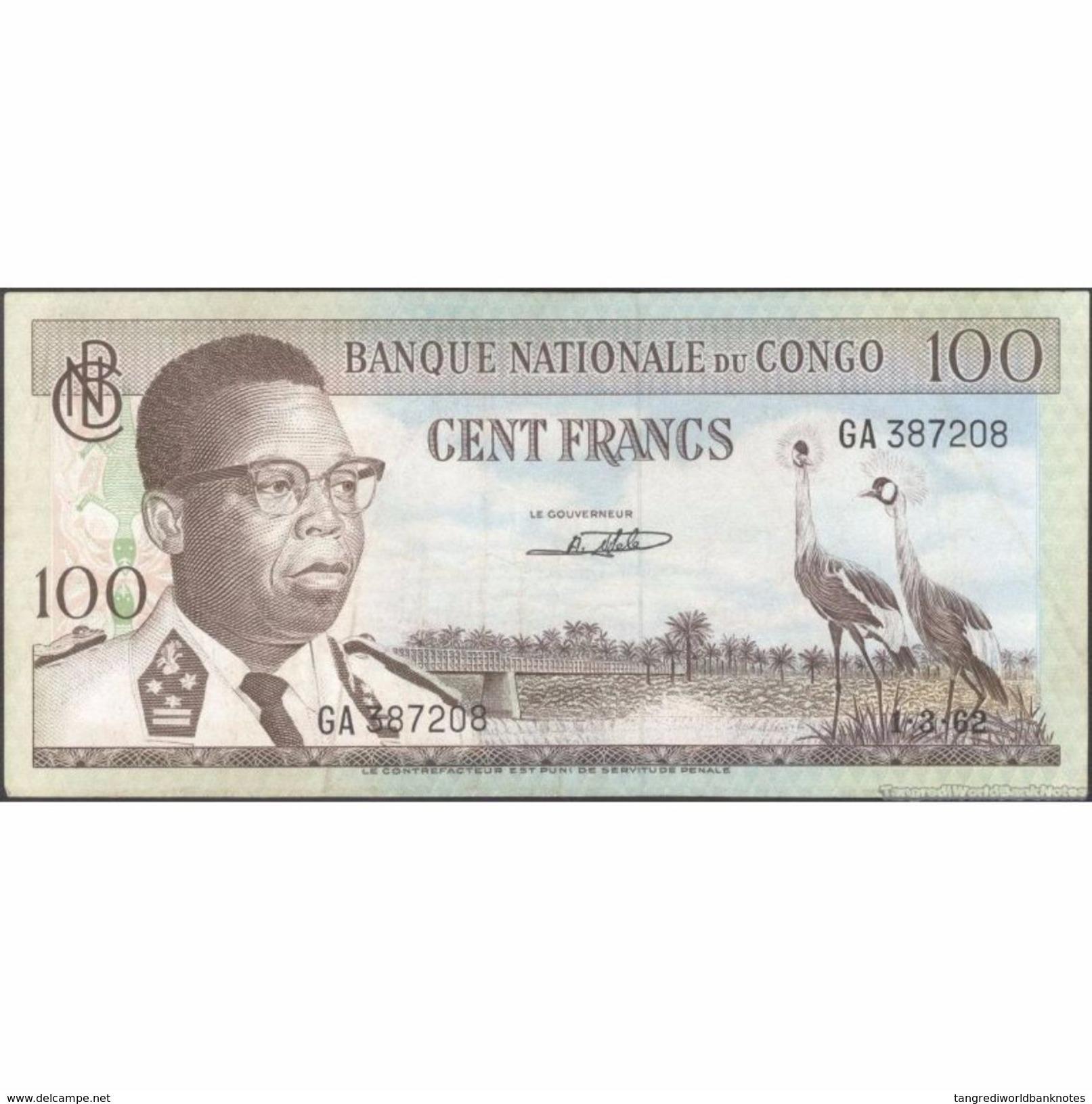 TWN - CONGO 6a - 100 Francs 1.3.1962 GA 387208 AVF - Congo