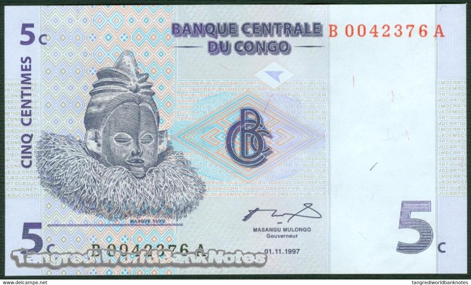 TWN - CONGO DEM. REP. 81a - 5 Centimes 1.11.1997 B-A (G&D) UNC - Congo