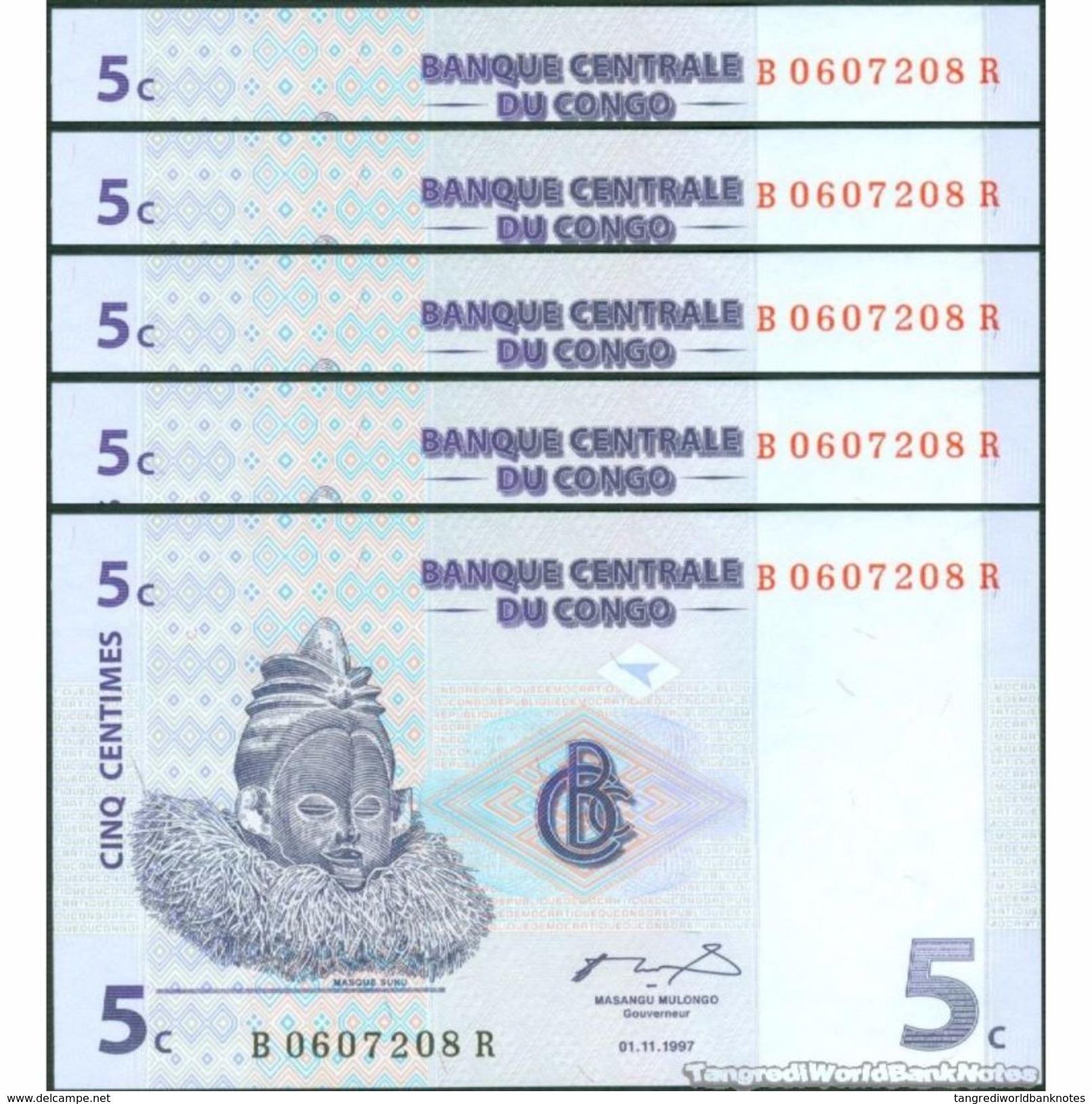 TWN - CONGO DEM. REP. 81a - 5 Centimes 1.11.1997 DEALERS LOT X 5 B-R (G&D) UNC - Congo