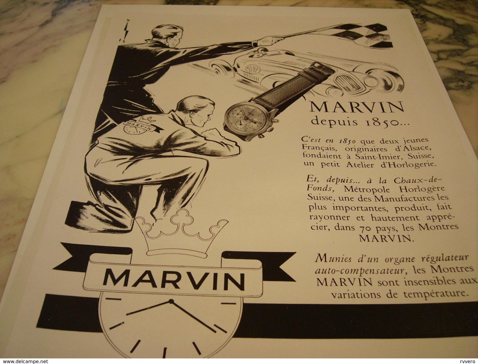 ANCIENNE PUBLICITE MONTRE MARVIN - Bijoux & Horlogerie