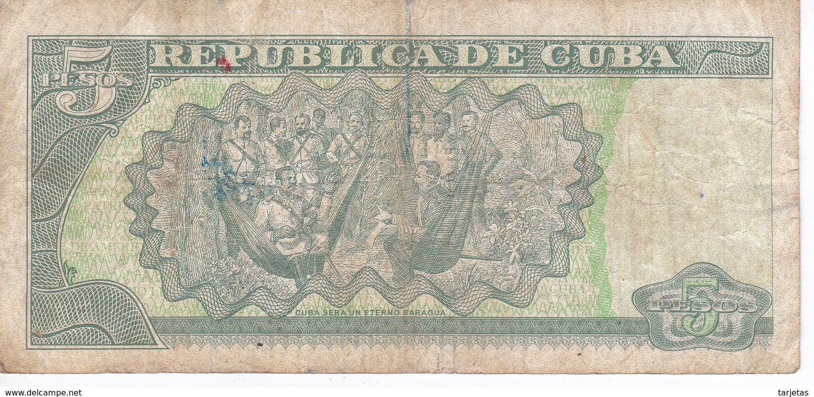 BILLETE DE CUBA DE 5 PESOS DEL AÑO 2014 DE ANTONIO MACEO  (BANKNOTE) - Cuba