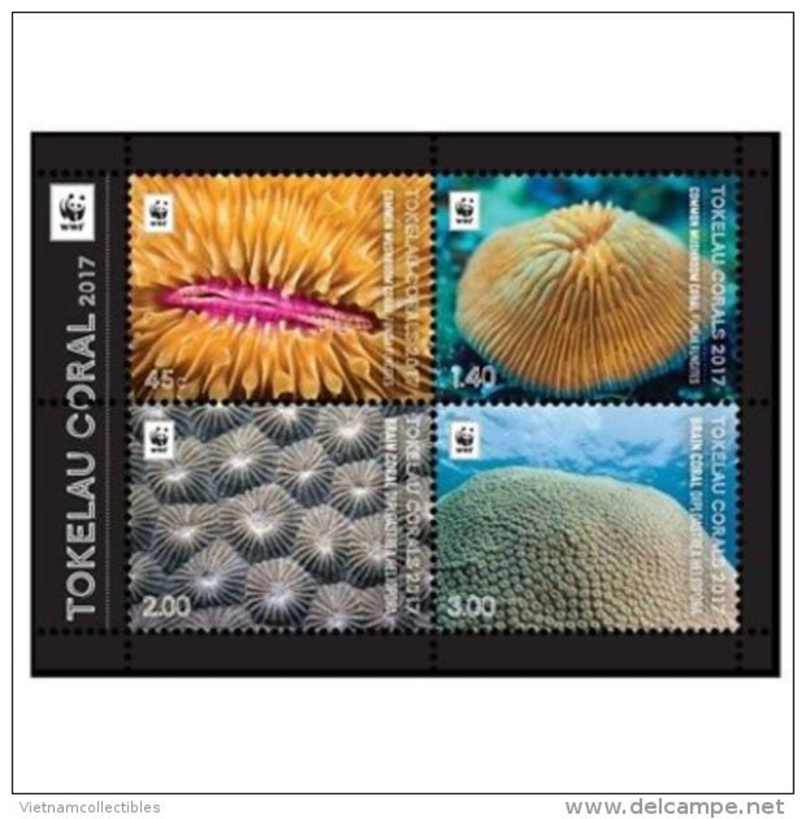 WWF W.W.F. Tokelau MNH Perf Souvenir Sheet 2017 : Coral / Marirne Life - W.W.F.