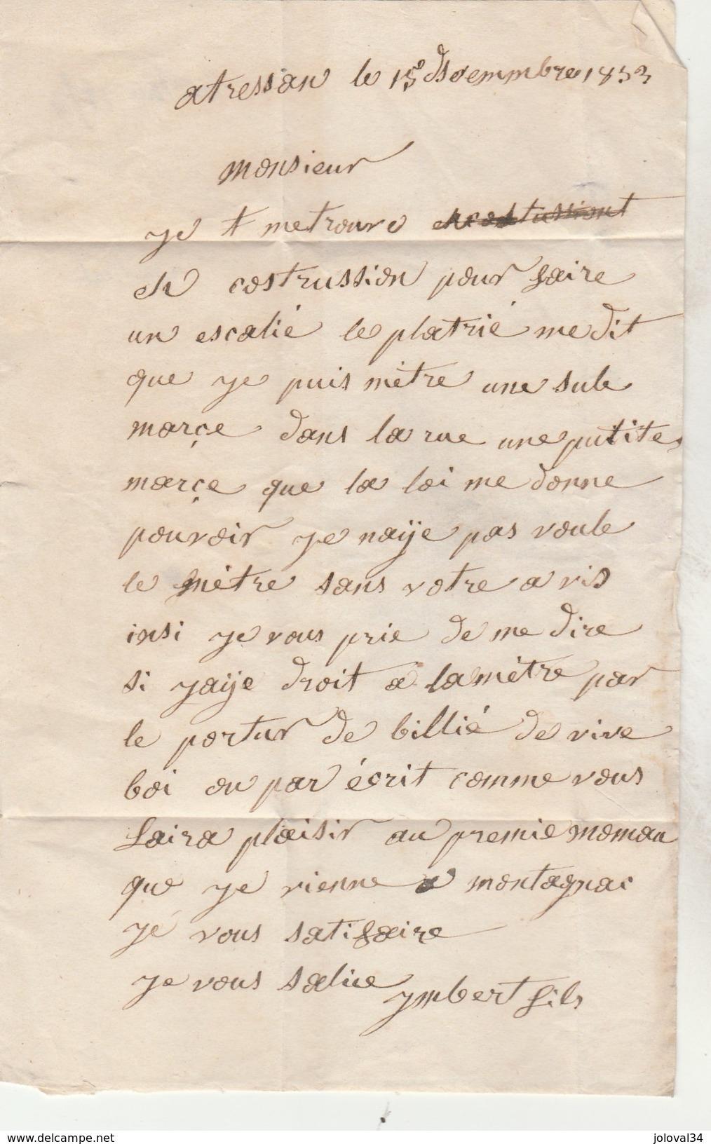 Lettre Sans Marque Postale De  TRESSAN Hérault 15/12/1853 Pour Montagnac - 1849-1876: Klassieke Periode