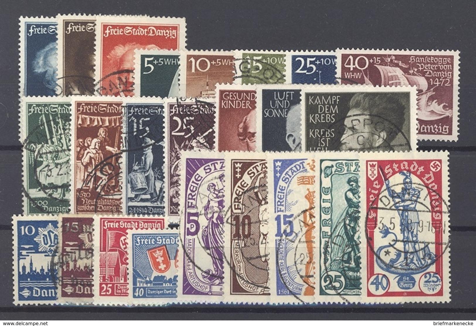 Danzig, Gestempelter Posten Aus 1937/39 Auf Steckkarte (19086) - Danzig
