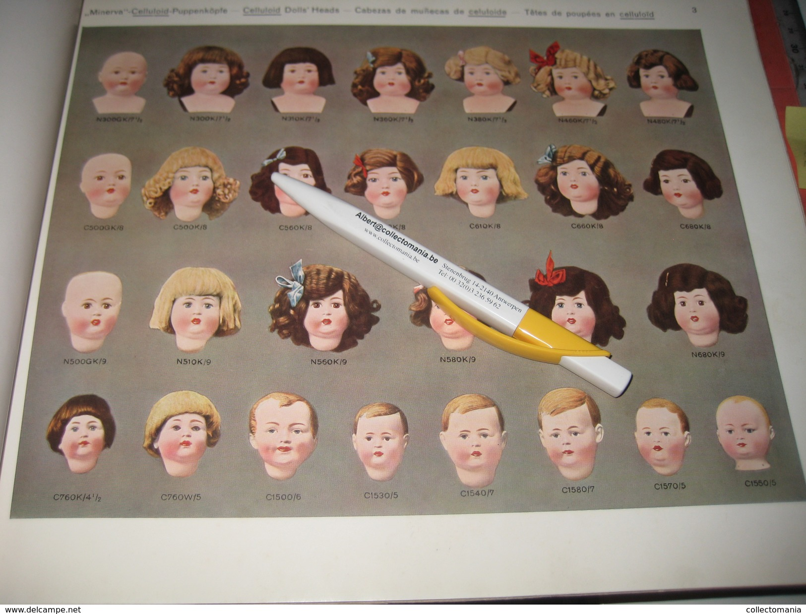 MINERVA 1930 Catalogue  Puppen Und Spielwaren NOSSEN,- BUSCHOW & BECK Metal Doll Heads, & Celluloide Poupées, Nossi Exc - Reklame