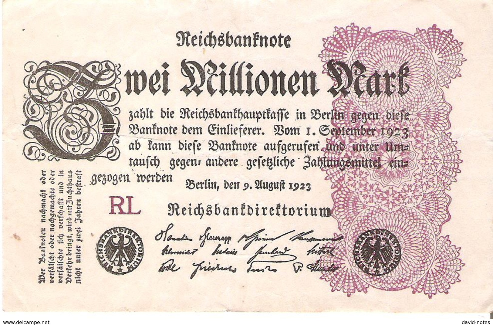 Germany - Pick 104 - 2.000.000 (2000000) Mark 1923 - VF+ - 2 Millionen Mark