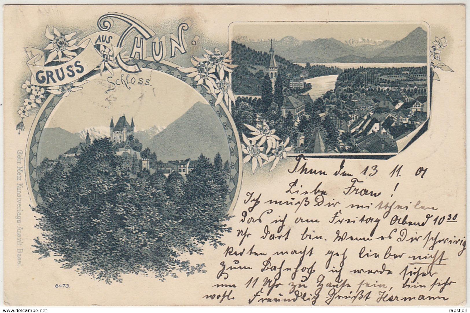 Litho Gruss Aus Thun BE Bern 1901 - BE Berne