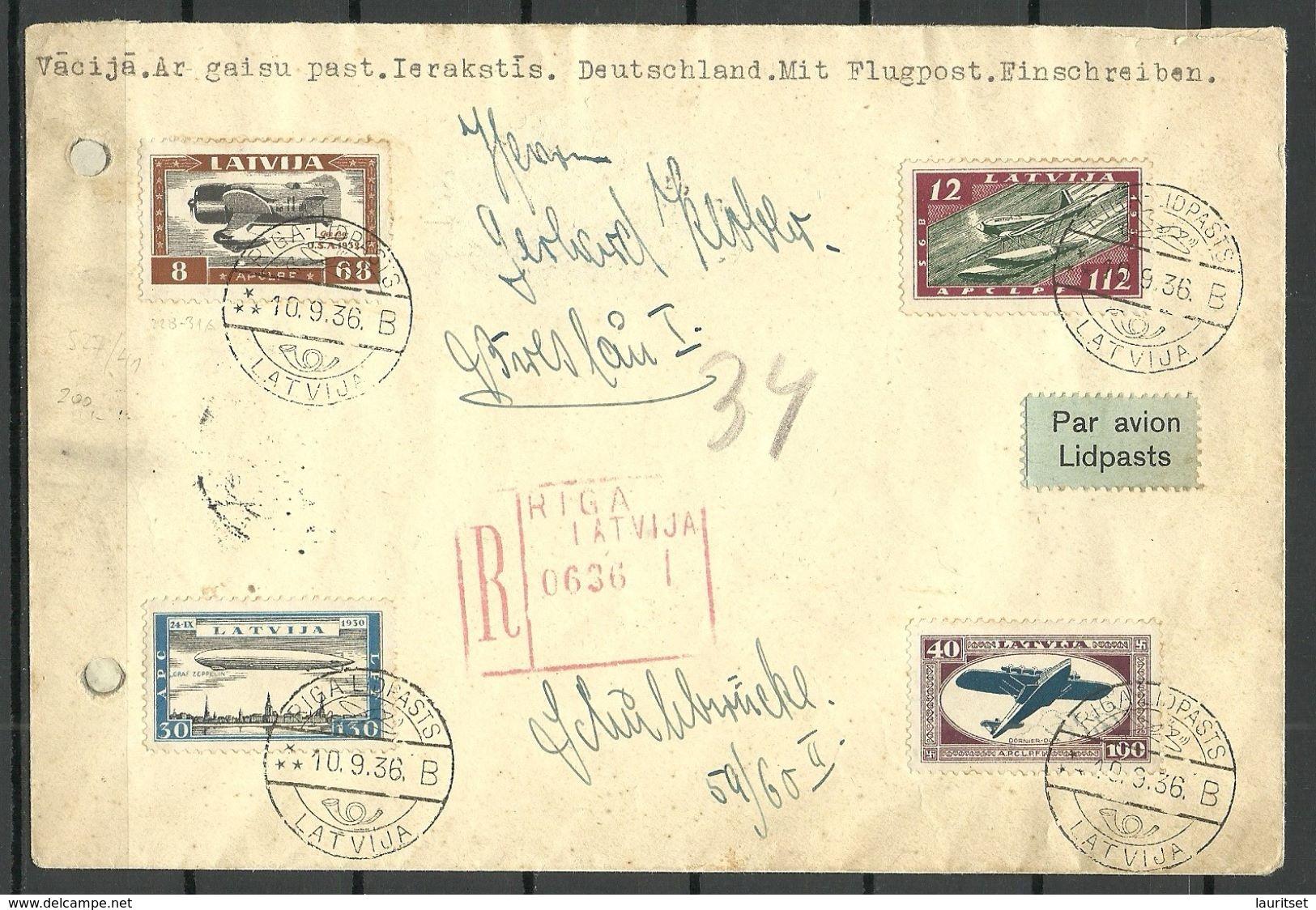 LETTLAND Latvia 1936 Flugpost Satzbrief Michel 228  - 231 A Nach Deutschland Sehr Selten ! Ankunftstempeln ! - Lettonie