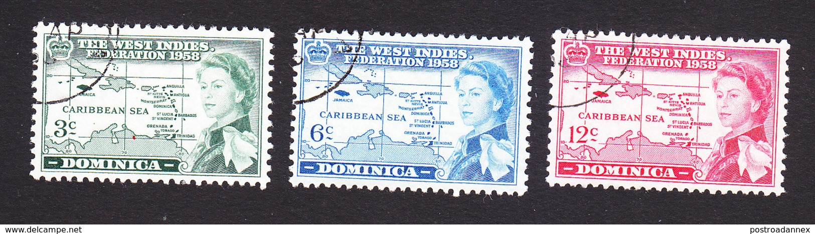 Dominica, Scott #161-163, Used, West Indies Federation, Issued 1957 - Dominica (...-1978)
